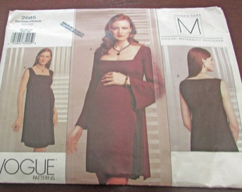 Vogue 2685 Maternity Dress Sewing Pattern Lauren Sara Above Mid Knee Raised Waist Back Zipper Close Fitting Size 18 20 22