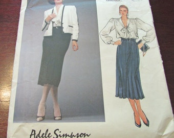 Vogue Sewing Pattern Adele Simpson 1483 Jacket Skirt Blouse  Loose Fitting Lined Above Hip Jacket Contrast Bias Trim Flared Skirt Size 8