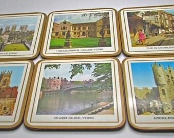 Vintage Pimpernel Coasters York Fay England Acrylic Set Of Six Including Box