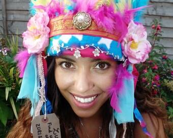 Rosey Rainbow Headdress