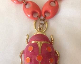 Vintage 1980's Beetle Necklace