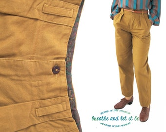 Vintage Dark Ochre Tapered Trousers | 80s High Waist Cotton Pants | breathe and let it be