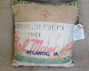 RoughNest Earl May Alfalfa/DeKalb/Seed combo Vintage Bag Decorative Pillow