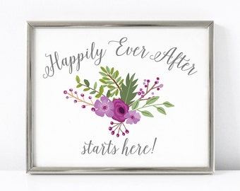 PRINTABLE Happily Ever After Wedding Print, 5x7 & 8x10 Floral Wedding Sign, Purple Wedding Decor, INSTANT DOWNLOAD