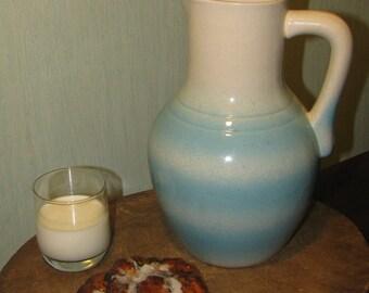 Vintage antique stoneware pitcher white blue pot pottery clay ceramic glazed Lithuania Europe