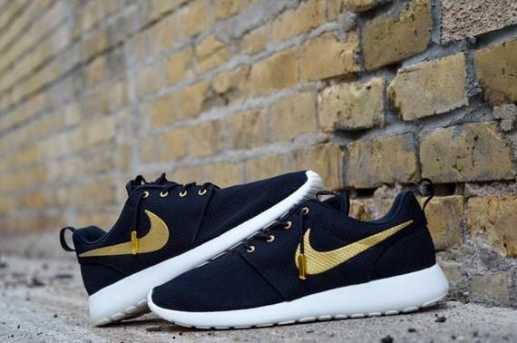 c94ab616dfac ... New Custom Nike Roshe Run OVO Any Size Made To Order Gold and Black  Trophy Ovo ...