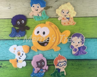 Set of 7 Finger Puppets and tacher - Inspired by Mermaid Bubble and Puppy Fish show