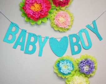 Blue Baby Boy Glittered Banner Great for Baby Shower