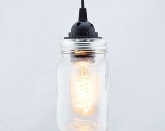 Mason Jar Pendant Light Kit, Wide Mouth, Black Cord, 15FT - MJ-15PLW