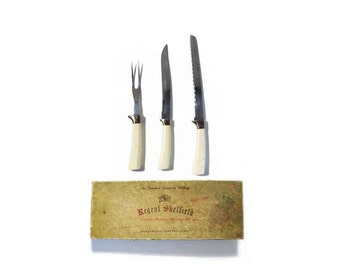 Regent Sheffield English Stainless Carving Set, The Greatest Name in Cutlery, Guaranteed Forever Sharp, Original Box, 2 Knives, 1 Fork,