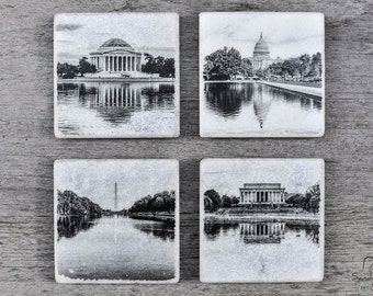 Washington dc coasters, Set of 4, Reflections of the Nation's Capital, DC black and white photography, DC coasters