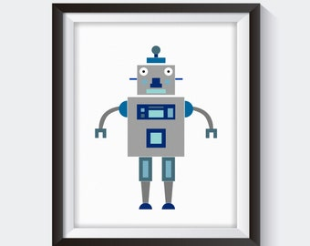 Robot Nursery Print, Robot Art, Robot Print, Robot Poster, Robot Sign, Children's Wall Art, Nursery Art, Boys Nursery Art, Boys Room Print
