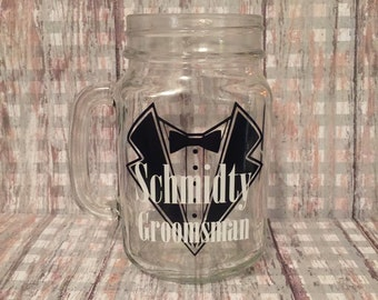 Groom or Groomsman Mason Jar Glass Mug - tux