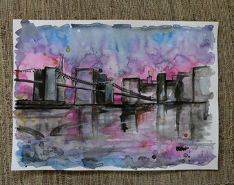 City Skyline Ink Painting by Olivia Rose Art