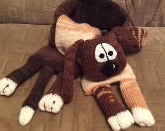 Animal scarf  Wool Puppy, soft scarf, animal scarf, knit scarf, funny scarf, brown scarf