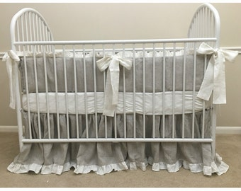 Linen bumper with white ruffle, gender neutral baby bedding, gray and white crib bedding, baby bedding, crib bedding set, farm house style