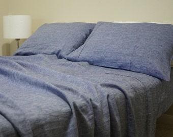 DENIM BLUE Chambray linen sheets Set in, Chambray Sheets, Chambray Bedding handmade in natural Linen