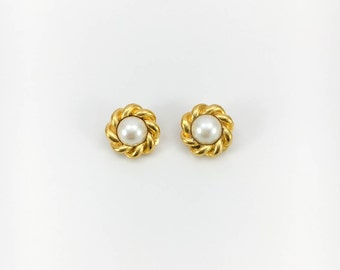 Chanel Gold-Plated Pearl Earrings - 1980s