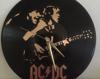 "AC/DC vinyl record wall art - upcycled from an original 12"" vinyl record"