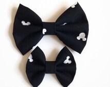 Mickey Hair Bow - Fabric Hair Bow - Mouse Ears Fabric Bow - Disney Fabric Bow - Mickey Fabric Bow - Black Hair Bow - Toddler Hair Clip