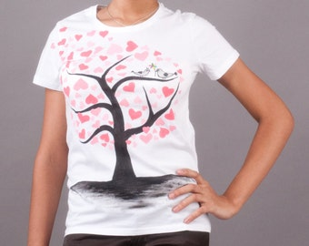 Love tree t-shirt, hand painted for women, love story, birds, hearts t shirt, t shirt on Valentine's Day. Romantic t shirt