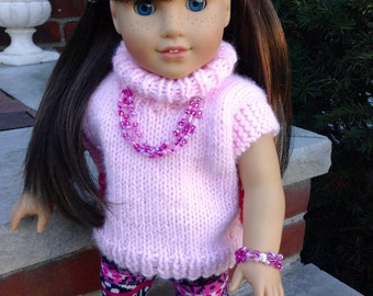 Pink triple-strand seed bead and silver necklace and bracelet set for American Girl and other 18 inch dolls