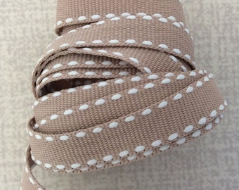 Latte Grosgrain Stitched Ribbon