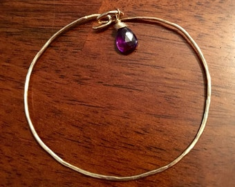 Gold filled hammered bangle bracelet  with pretty amethyst charm