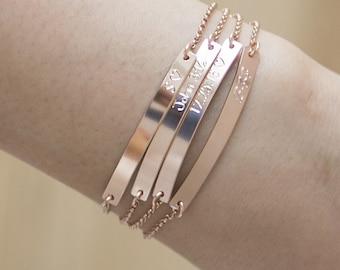 Rose Gold Bar Bracelet, Engraved Bracelet, Personalized Bracelet, Rose Gold Bracelet,Rose Gold Initial Bracelet, Name Bracelet