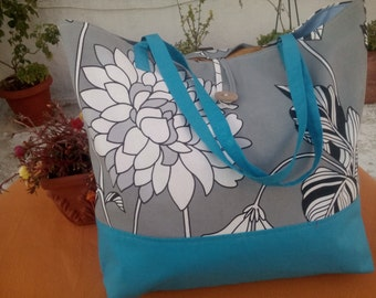Cotton tote bag with flower pattern - long handles.
