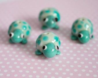 Turtle Beads - Lampwork Glass - Handmade Glass Turtle Beads - Turtle Tortoise - Pastel Coloured - UK Artisan Handmade - Animal Beads - Cute