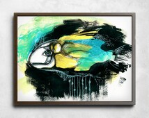 Deep in the Water, abstract art, watercolor print, acrylic abstract, fish abstract painting, black abstract art, watercolor painting