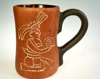 Terracotta Handled Cup Mug Mayan God Art Pottery Mexico
