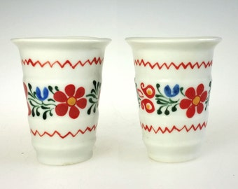 Hand Painted Porcelain Liqueur Cup Shot Glass Pair Czechoslovakia