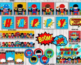 Superhero Party Package, Superhero Birthday Party Printable, Superhero Party Pack, Superhero Decor INSTANT DOWNLOAD