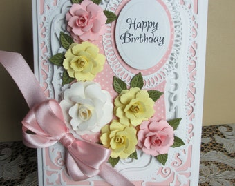 Handmade embellished pink and yellow birthday card