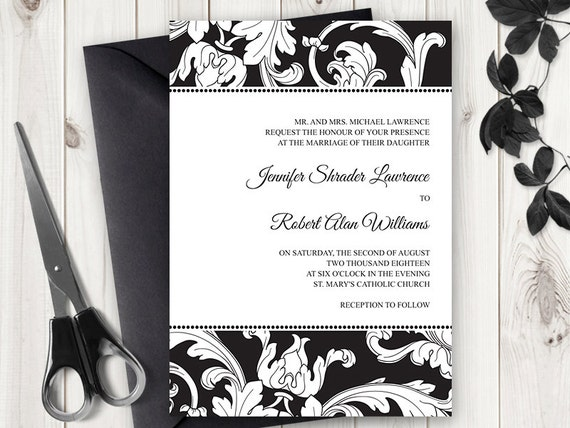 Formal Wedding Invitation Templates: Printable Wedding Invitation Template Elegance