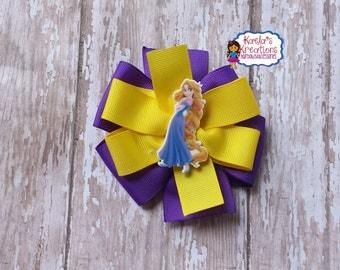 Tangled Hair Bows,Rapunzel Hair Bows,Yellow and Purple Rapunzel Hair Bows,Purple and Yellow Tangled Hair Bows,Rapunzel Birthday.