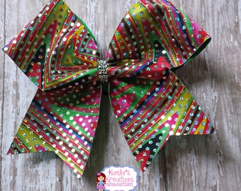 Colorful Cheer Bow, Cheer Bows, Sparkly Colorful Cheer Bows,Sparkly Cheer Bows,Cheer Leading Hair Bows,Cheer Leading Bows.
