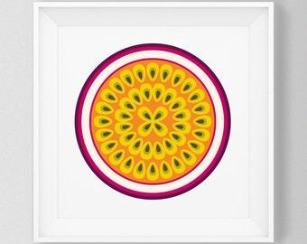 Passion fruit print – Fruit and vegetable prints – Kitchen art – Kitchen print – Food art – Food print – Wall art – Home decor