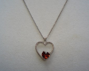 """Genuine Red Garnet, Heart Shaped Pendant with Chain 18"""""""