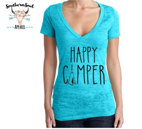 Happy Camper Tee Pee Tribal Women's Burnout V Neck T Shirt, Country T Shirt, Southern T Shirt, Country Concert Shirt