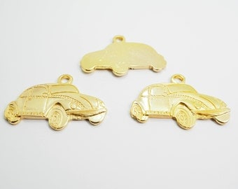 5 pieces - 25 x 35 mm Large Original Folk Car, Volkswagen Charms Pendant Findings ( Single Side ) Gold Tone - SRR.1
