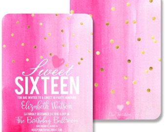 Sweet Sixteen Quinceanera Invitation Pink Gold Chic Invitation (200 Invitations w/envelope or 100 w/envelope)