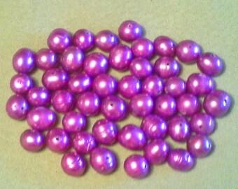 Freshwater potato pearls;  vibrant violet, freshwater potato pearls, 7-8x6-7mm, 10pcs/2.80.
