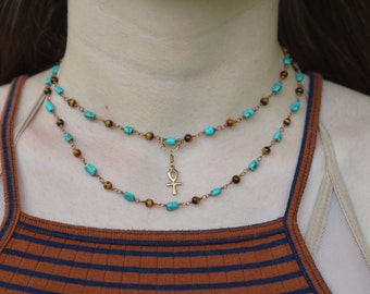 Turquoise and Tiger's Eye Gemstone Layered Necklace with Ankh