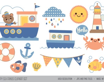 Happy Sea Friends / Digital Clipart / Instant Download