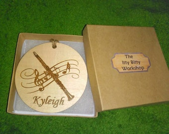 Clarinet Custom Engraved Christmas Ornament