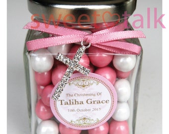 Personalised Christening Favour, Baptism Favour, Confirmation Favour - Chocolates Candy Jar INCLUDES Jewel Cross Charm