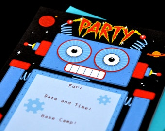 Robots Party Fill In Invitations & Matching Thank You Notes, Celebrate Birthday Bash Invite - FI127